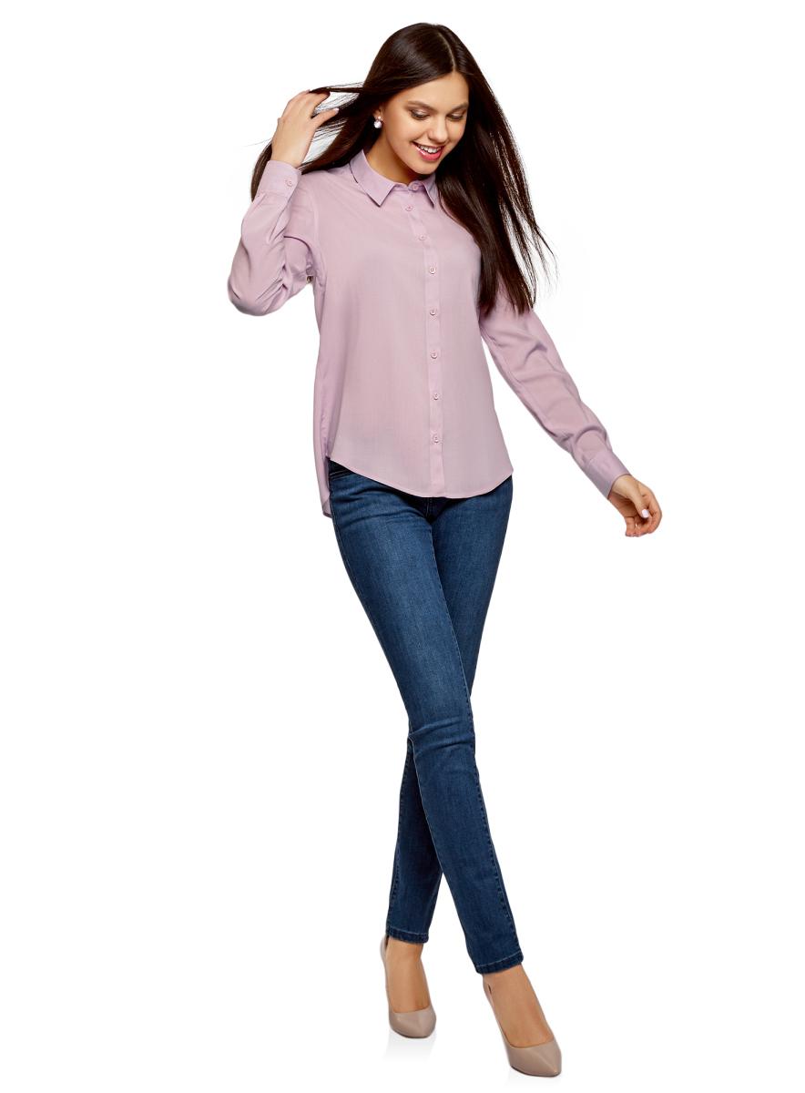 Блузка женская oodji Ultra, цвет: светло-розовый. 11411136B/26346/4000N. Размер 40 (46-170) блузка женская oodji ultra цвет черный 11411136b 26346 2900n размер 44 50 170
