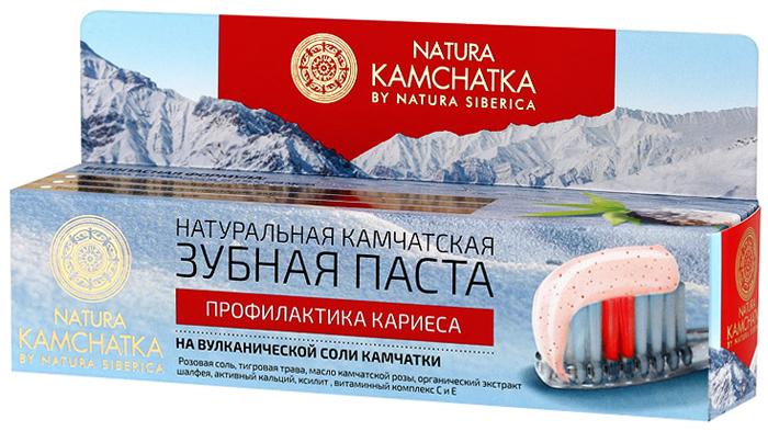 Natura Siberica Kamchatka Паста зубная натуральная камчатская Профилактика кариеса для всей семьи, 100 мл086-9-36572Натуральная камчатская зубная паста бережно и деликатно отбеливает зубы, не повреждая эмаль. Входящие в ее состав природные компоненты эффективно укрепляют зубную эмаль, повышая ее устойчивость к возникновению кариеса. Тигровая трава оказывает заживляющее и противовоспалительное действие. Масло камчатской розы и органический экстракт шалфея помогает снять воспаления, укрепляет и питает десны. Активный кальций действует идентично пломбе, заполняя микротрещины на поверхности эмали, восстанавливая и предотвращая ее истончение. Ксилит борется с распространением бактерий в полости рта, освежая дыхание. Витаминный комплекс С и Е эффективно заботится о здоровье десен.