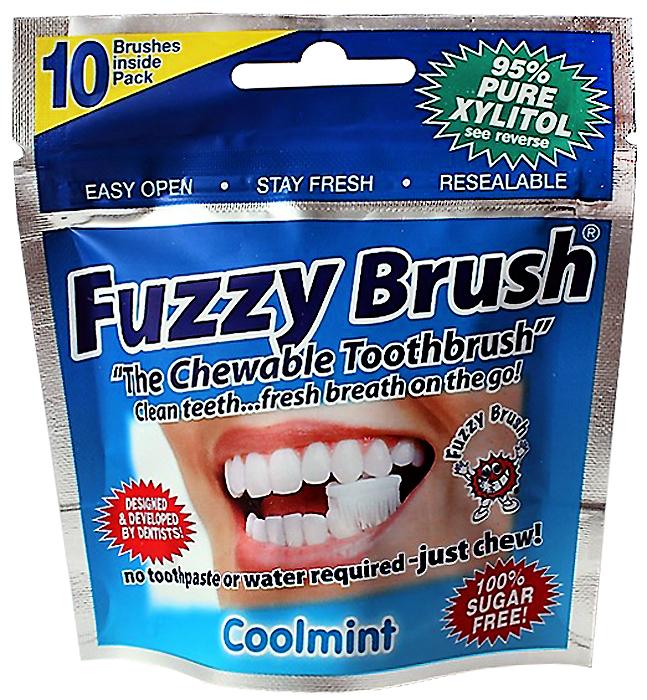 Fuzzy Brush Жевательная зубная щетка 95% ксилитола, 10 шт fuax suede zip up fuzzy waistcoat