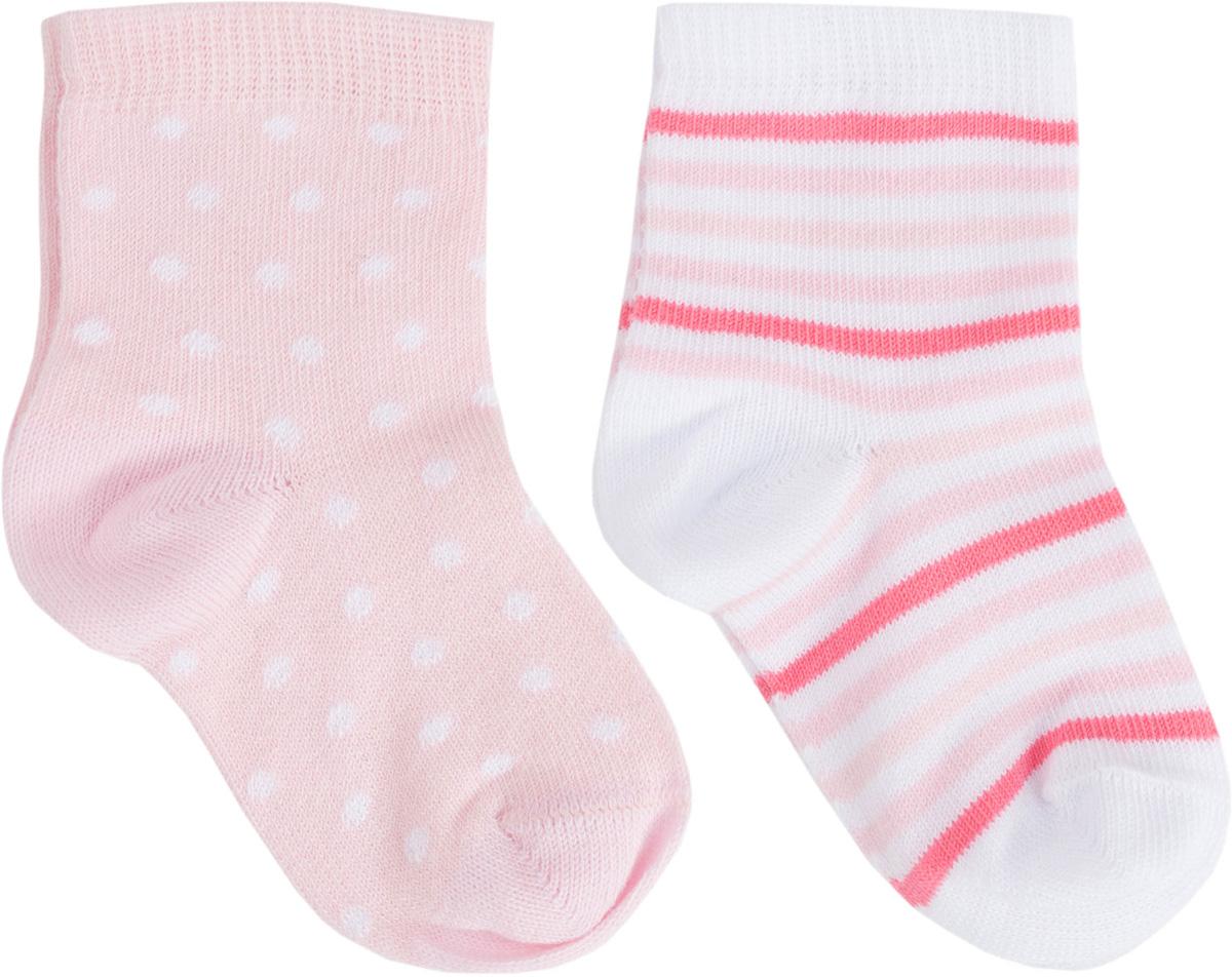 Носки для девочки PlayToday Newborn, цвет: светло-розовый, белый, 2 пары. 188833. Размер 11188833Мягкие носки от PlayToday выполнены из натуральных материалов. Хорошо пропускают воздух позволяя коже дышать. Одна пара выполнена технике - Yarn Dyed - в процессе производства в полотне используются разного цвета нити. Изделие, при рекомендуемом уходе, не линяет и надолго остается в первоначальном виде. Вторая пара дополнена жаккардовым рисунком. В комплекте 2 пары носков.