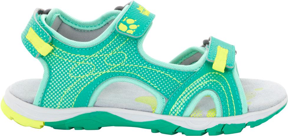 Сандалии для девочки Jack Wolfskin Acora, цвет: светло-зеленый. 4022511-4071. Размер 274022511-4071Лето должно быть беззаботным и полным приключений. Сандалии для девочки Jack Wolfskin Acora обеспечивают надежное сцепление и хорошо поддерживают ногу, каким бы сложным ни был рельеф. Модель разработана специально для девочек: по сравнению с другими моделями, эти сандалии имеют немного более узкую посадку. Симпатичная подкладка отлично дышит и не прилипает к ноге. Все материалы просты в уходе и моментально сохнут после освежающего плескания в ручье.
