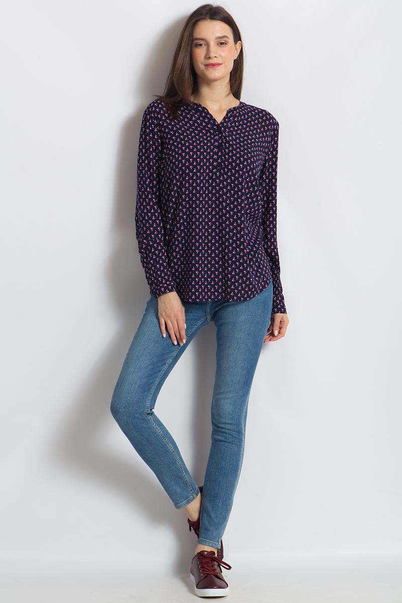 Блузка женская Finn Flare, цвет: темно-синий. B18-11036. Размер L (48) блузка женская finn flare цвет лиловый синий бежевый s16 14085 814 размер m l 46 48