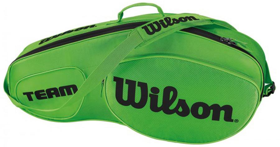 Сумка для теннисных ракеток Wilson Team Iii 3 Pack GrbkWRZ854803Созданная специально по шаблону классической коллекции Tour Collection,сумка Team II вмещает до 3 ракеток и обеспечивает дополнительное место хранения с 1 большим и просторным карманом под аксессуары.