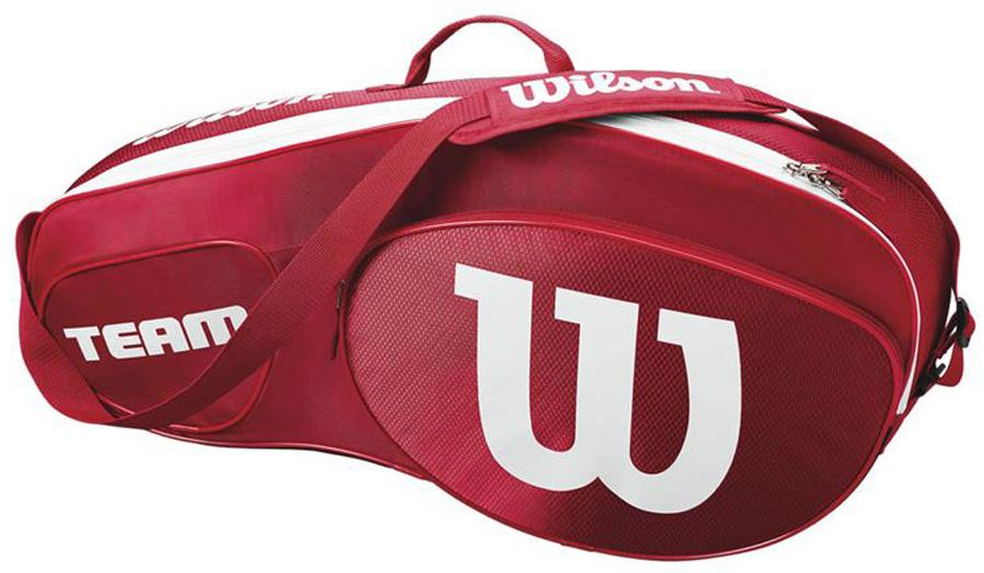 Сумка для теннисных ракеток Wilson Team Iii 12 Pack RdwhWRZ857812Созданная специально по шаблону классической коллекции Tour Collection,сумка Team II вмещает до 12 ракеток и обеспечивает дополнительное место хранения с 2 большими и просторными карманами под аксессуары.