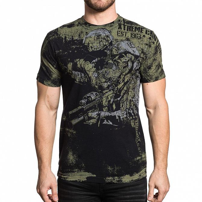 Футболка мужская Xtreme Couture Battlezone, цвет: черный. X1645. Размер XL (52)X1645Мужская футболка от Xtreme Couture выполнена из натурального хлопка. Модель с короткими рукавами и круглым вырезом горловины оформлена оригинальным принтом.