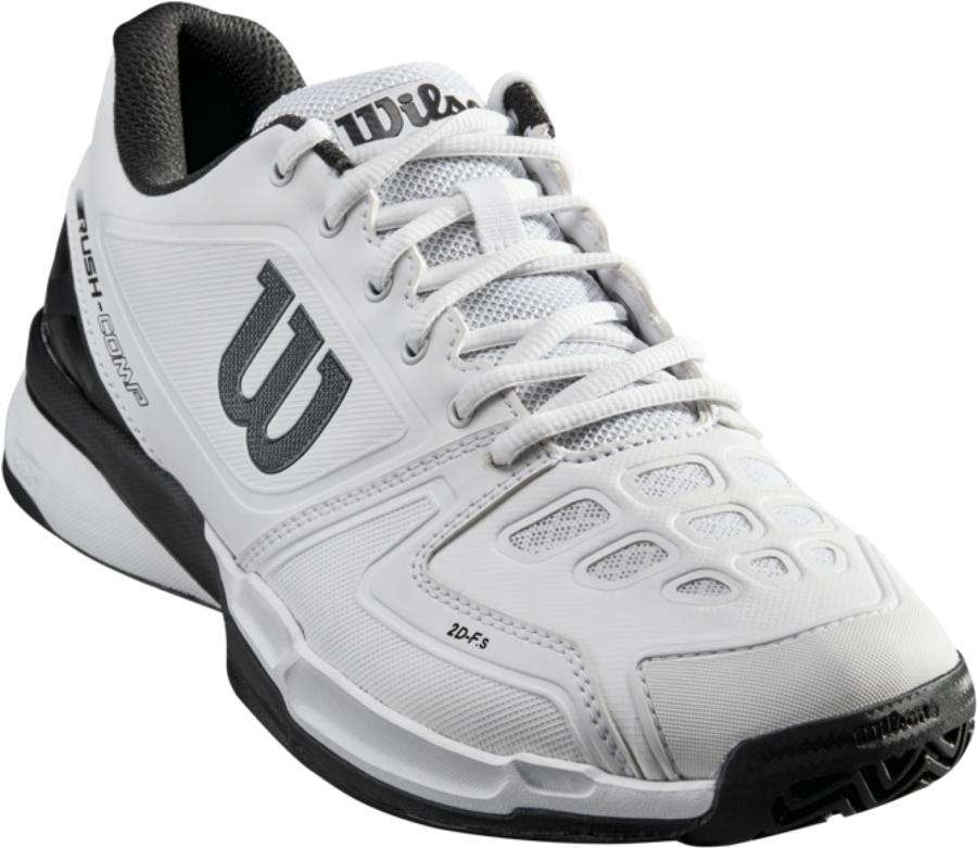 Кроссовки для тенниса мужские Wilson Rush Comp, цвет: белый. WRS323520. Размер 10,5 (44)WRS323520Теннисные мужские кроссовки Wilson Rush Comp - новинка, способная предоставить новый уровень стабильности для заядлого игрока, который ищет комфорт и поддержку по доступной цене. Модель является универсальной и подходит для игры на кортах с любым покрытием. Мягкая текстильная подкладка и формованная стелька Ortholite гарантируют комфорт и удобство во время носки.Кроссовки создают законченный образ с одеждой бренда Wilson.