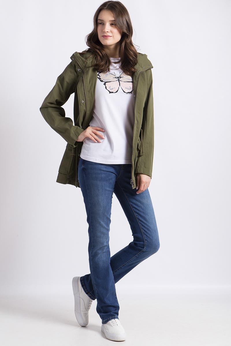 Куртка женская Finn Flare, цвет: хаки. B18-12084. Размер M (46)