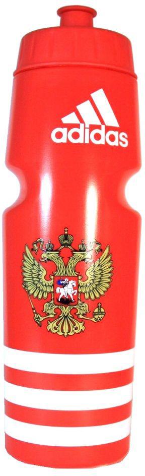 Спортивная бутылка, которая поможет утолить жажду, не отрываясь от тренировки. Модель не содержит бисфенол А и ее можно мыть в посудомоечной машине. Удобный клапан для питья во время выполнения упражнений. Бутылка оформлена логотипом adidas в верхней части, тремя полосками в нижней части и гербом России посередине. Компактная форма бутылки подходит для большинства велосипедных холдеров.