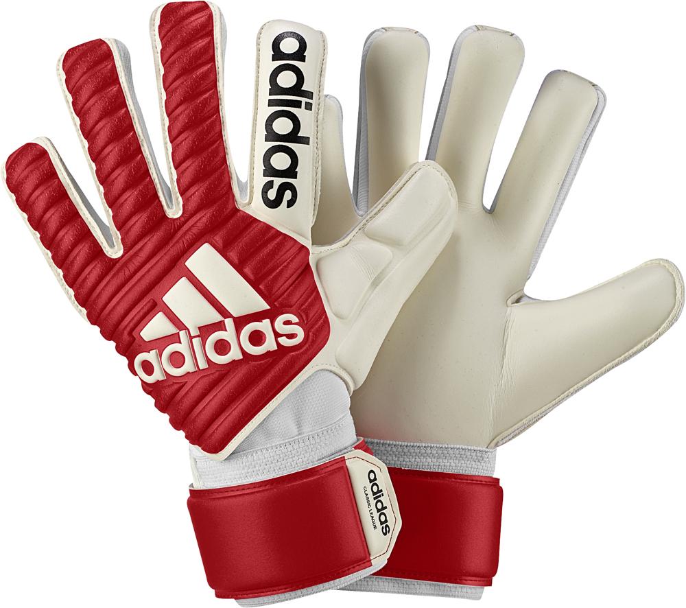 Перчатки вратарские Adidas Classic League, цвет: красный, белый. Размер 5CF0104Перчатки для целеустремленных вратарей. Безупречность. Точный контроль. Эти классические вратарские перчатки усовершенствованы для современного стиля игры. Удобный облегающий крой с внутренними швами. Специальный материал обеспечивает превосходное сцепление и контакт с мячом в любую, даже дождливую погоду.Благодаря специальному крою negative cut с внутренними швами перчатки комфортно и плотно облегают руку, поэтому отлично подходят футболистам с более тонкими пальцами. Эластичный манжет для идеальной фиксации перчаток и поддержки запястья. Ремешок вокруг запястья для точной подгонки по размеру. Логотип Adidas на тыльной стороне. Состав материала: 62% полиуретан, 19% полиэстер, 19% хлопок.