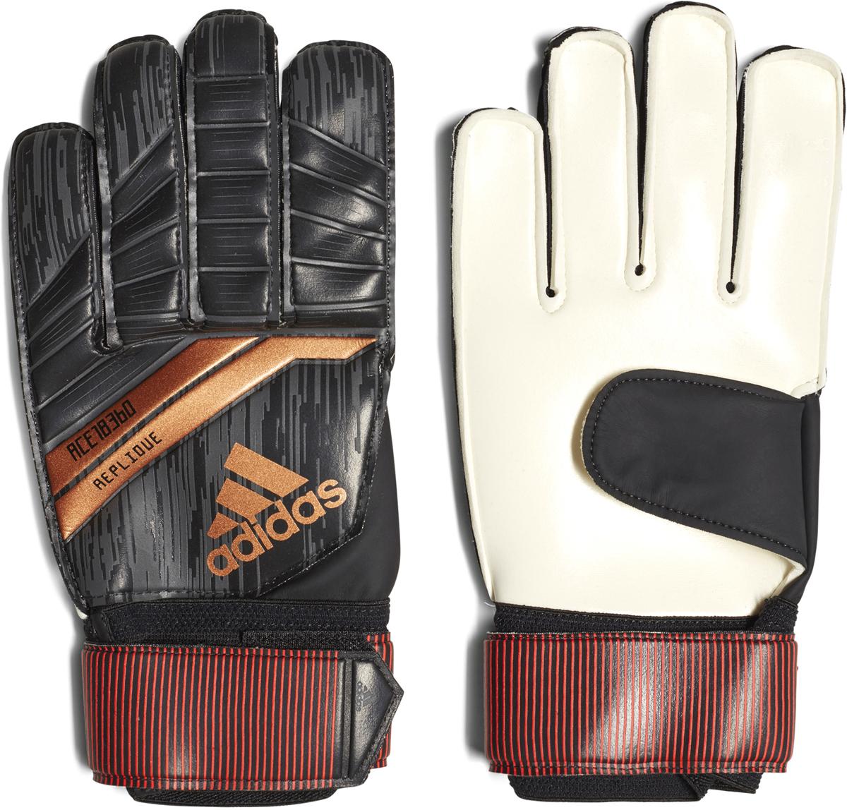 Перчатки вратарские Adidas Pre Replique, цвет: черный. Размер 8CF1363Цепкие перчатки для идеального захвата мяча. Отбивай, лови и блокируй во время каждого матча. Эти мужские футбольные перчатки созданы специально для вратарей. Практичный крой с наружными швами обеспечивает комфорт. Латексная вставка на ладони увеличивает сцепление и контакт с мячом.Мягкое покрытие Soft Grip Pro из латекса на ладонях обеспечивает хорошее сцепление, амортизацию и надежность при любых погодных условиях. Благодаря специальному крою positive cut с наружными швами перчатки комфортно сидят на руках и отлично подходят футболистам с более широкими ладонями. Эластичный манжет для идеальной посадки и поддержки запястья. Ремешок вокруг запястья для точной подгонки по размеру. 83% ЭВА / 15% пенополиэтилен / 2% другие материалы.