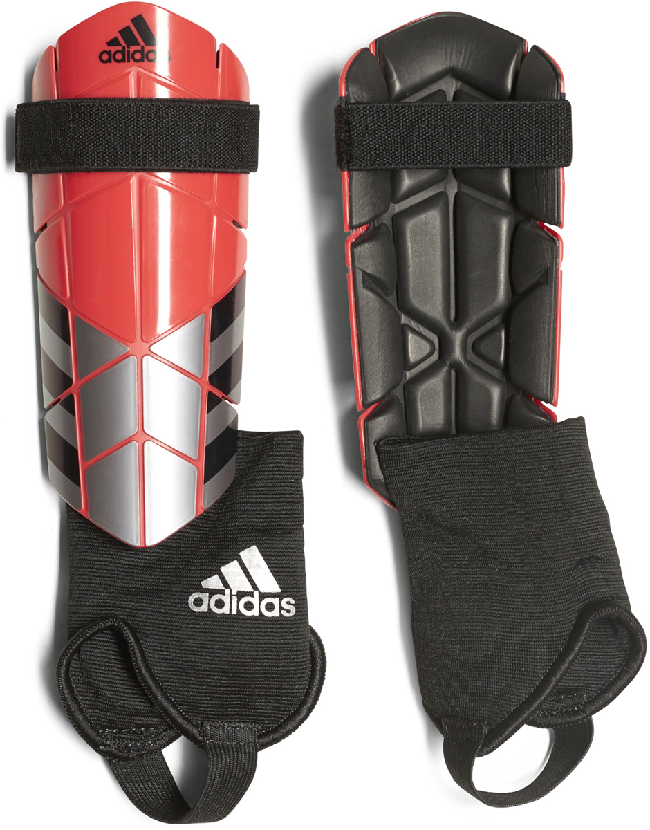 Щитки футбольные Adidas  Ghost Reflex , цвет: серебристый, коралловый. Размер L - Командные виды спорта