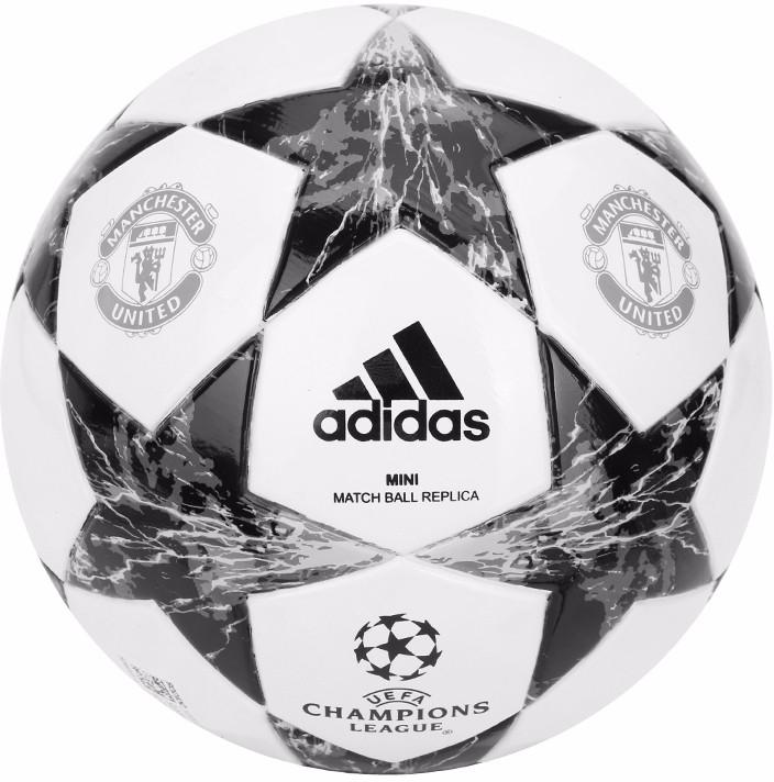 Мяч футбольный Adidas Finale17Mufcmin, цвет: белый, черный. Размер 1 мяч баскетбольный adidas performance all court цвет оранжевый x35859