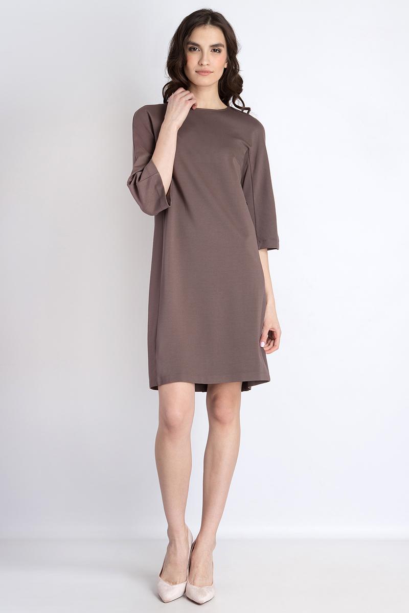 Платье Finn Flare, цвет: коричневый. B18-12036_617. Размер M (46)B18-12036Стильное платье от Finn Flare выполнено из вискозного материала с добавлением нейлона и эластана. Модель свободного кроя с круглым вырезом горловины и рукавами чуть ниже локтя на спинке застегивается на потайную молнию.