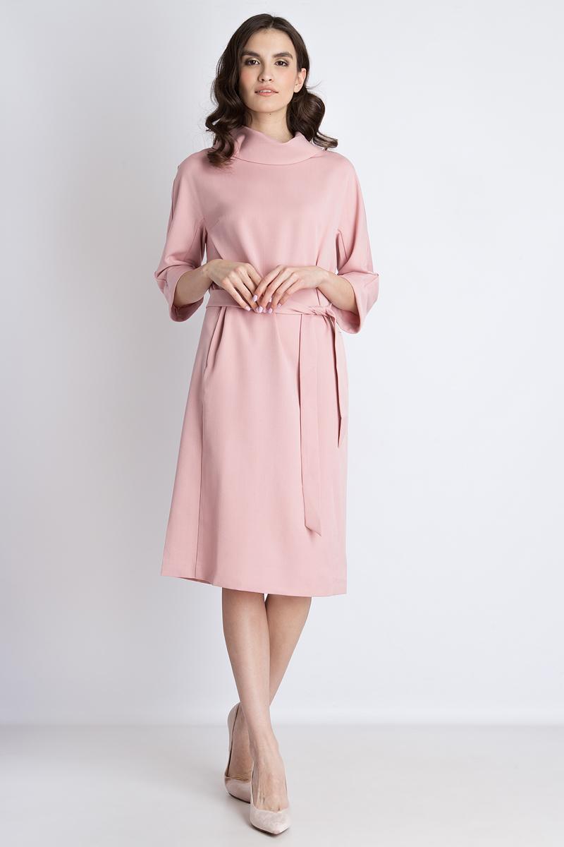 Платье Finn Flare, цвет: пепельно-розовый. B18-11086. Размер S (44)B18-11086Стильное платье от Finn Flare выполнено из высококачественного материала. Модель с рукавами 3/4 и оригинальным воротником-воронкой на спинке застегивается на потайную молнию. По бокам платье дополнено втачными карманами, на талии – широким текстильным поясом.