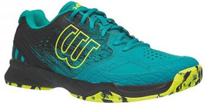 Кроссовки для тенниса мужские Wilson Kaos Comp, цвет: зеленый. WRS323880. Размер 10 (43,5)WRS323880Кроссовки Wilson Kaos Comp - это легкая и комфортная модель для быстрых и атакующих спортсменов всех возрастов. Идеальная посадка по ноге обеспечивается благодаря технологии EndoFit; максимальный контроль - благодаря технологии 2D-F.S для устойчивости и стабильности при боковых движениях. Шасси Pro-Torque Chassis LT в верхней части подошвы контролирует поверхности при небольшом весе обуви. Мягкая текстильная подкладка и формованная стелька Ortholite гарантируют комфорт и удобство во время носки.Кроссовки создают законченный образ с одеждой бренда Wilson.