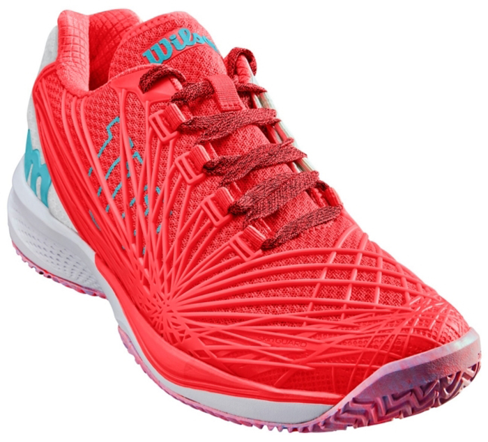 Кроссовки для тенниса женские Wilson Kaos 2.0 W, цвет: красный. WRS323860. Размер 6 (38,5)WRS323860Кроссовки Wilson Kaos 2.0 - модель 2018 года. Второе поколение супербыстрых и легких кроссовок для теннисистов, нуждающихся в комфортной обуви для агрессивной игры. Модель KAOS 2.0 - максимальный воздухообмен, обновлённая технология SKINGUARD и новое торсионное шасси PTC. Все эти характеристики обеспечивают высочайший уровень поддержки и быстрое ускорение. Классическая шнуровка гарантирует удобство и надежно фиксирует модель на ноге. Технология EndoFit создает идеальный обхват и посадку по ноге. Технология 2D-F.S для устойчивости и стабильности при боковых движениях; шасси Pro-Torque Chassis LT в верхней части подошвы контролирует поверхности при небольшом весе обуви. Технология Dynamic Fit-Dfz дает отличный контакт с кортом. Химически активные вещества R-DST в пяточной части для максимальной амортизации. Технология Duralast для лучшего сцепления с поверхностью корта. Съемная стелька EVA с внешней текстильной поверхностью обеспечивает комфорт во время пребывания на улице. Антибактериальная пропитка против запаха.