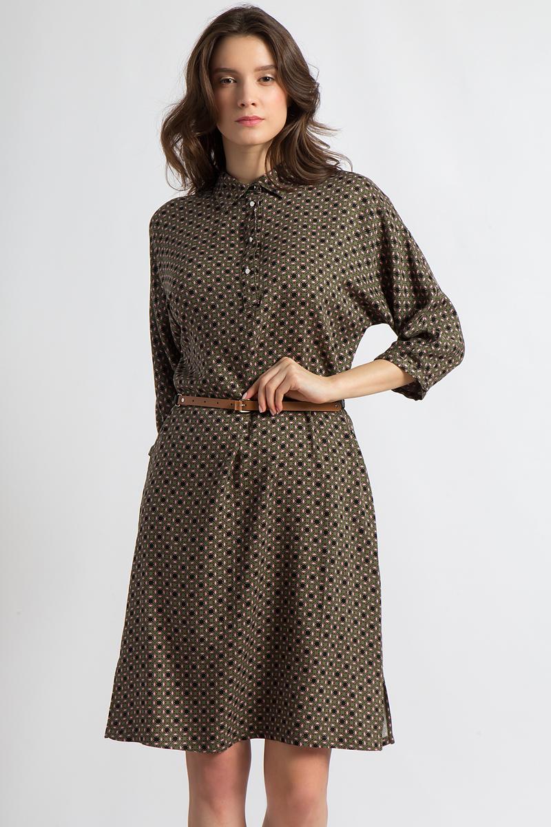 Платье Finn Flare, цвет: хаки. B18-12050. Размер XL (50)B18-12050Это красивое платье от Finn Flare выполнено из чистой вискозы и гарантирует комфорт в любой ситуации. Удобная длина до колена и ткань с принтом сделают эту модель отличным выбором для многих повседневных образов. Приталенная форма подчеркнута тонким ремешком, а рукава длиной 3/4 и узкая планка с пуговицами на груди являются удобными деталями.