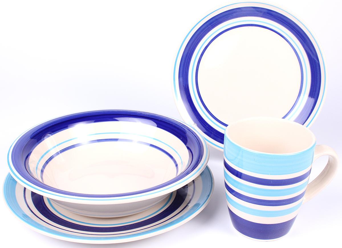 Набор столовой посуды Elrington Меридианы, 4 предмета. GA-DS4SW-01GA-DS4SW-01Набор посуды с оригинальным дизайном обязательно понравится вам и вашим гостям.Набор состоит из 4 предметов: Тарелка 190 мм. Тарелка 220 мм.Салатник 700 мл. Кружка 350 мл. Упаковка - белый бокс.