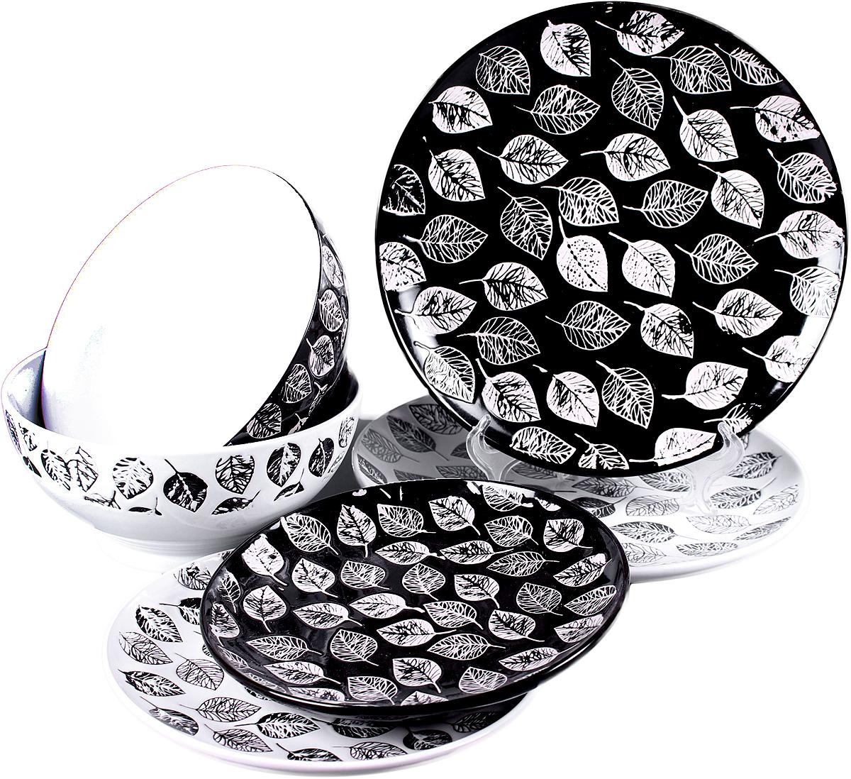 Набор столовой посуды Elrington Нуар, 18 предметов. GR-2071BWGR-2071BWНабор столовой посуды с оригинальным дизайном обязательно понравится вам и вашим гостям.Набор столовый состоит из 19 предметов:6 мелких тарелок 220 мм. 6 мелких тарелок 190 мм.6 салатников 600 мл. декор - черный/белый с листьями. упаковка - цветной бокс.