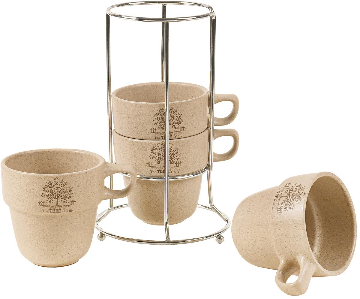 """Набор чайный Elrington """"Терракота"""" включает в себя 4 кружки.  Набор состоит из:  - 4 чашек 400 мл,  - металлического стенда.  С таким набором чайная церемония станет незабываемой."""