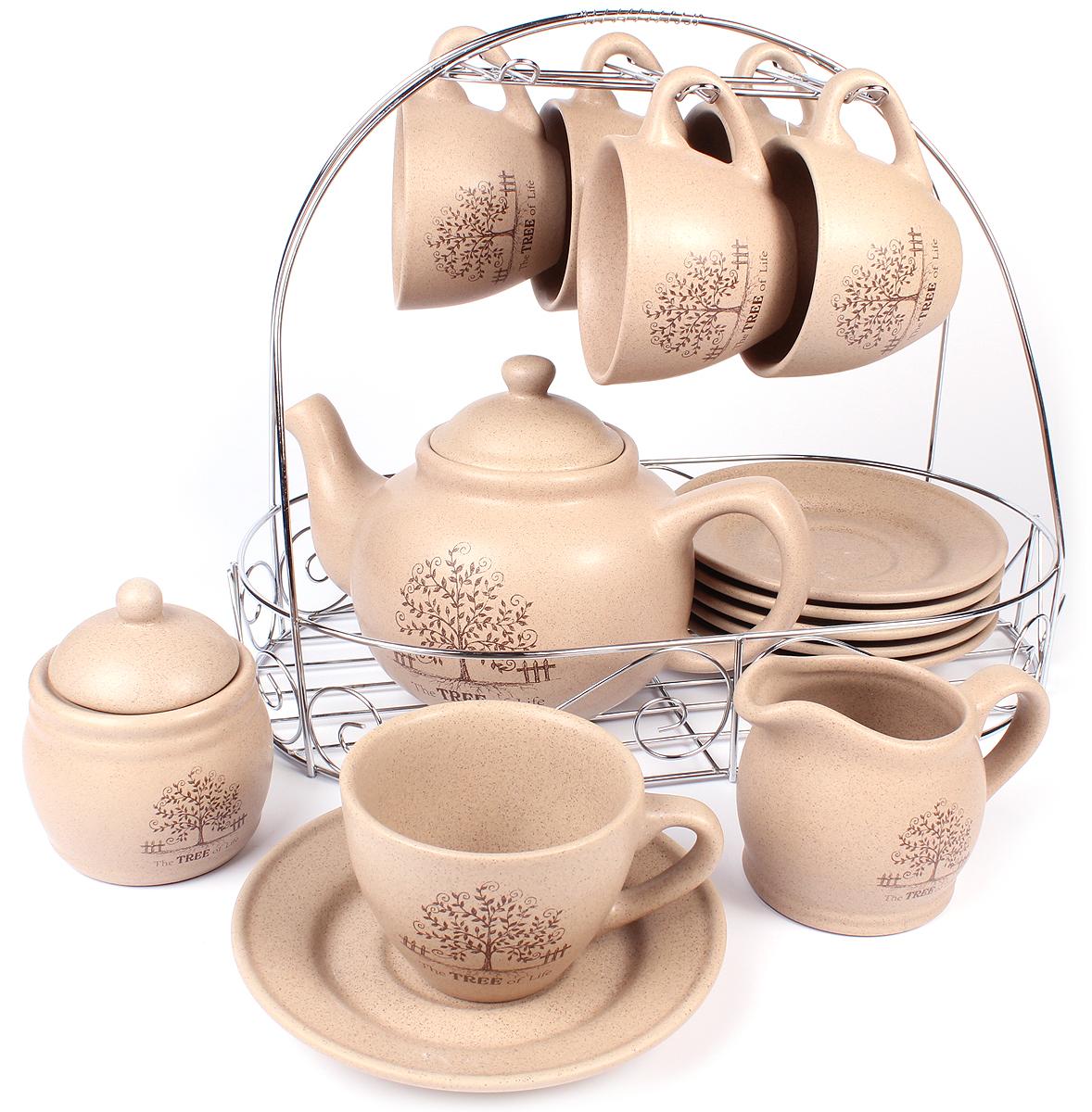 Набор чайный Elrington Терракота, 15 предметов. HD-0015HD-0015Набор чайный Elrington Терракота выполнен из керамики. Чайный набор на шесть персон включает в себя: шесть чашек (250 мл), шесть блюдец, чайник (1500 мл), сахарницу, металлическую подставку, которая позволит сэкономить место на кухне.Демократичный набор для повседневного использования и семейных посиделок.