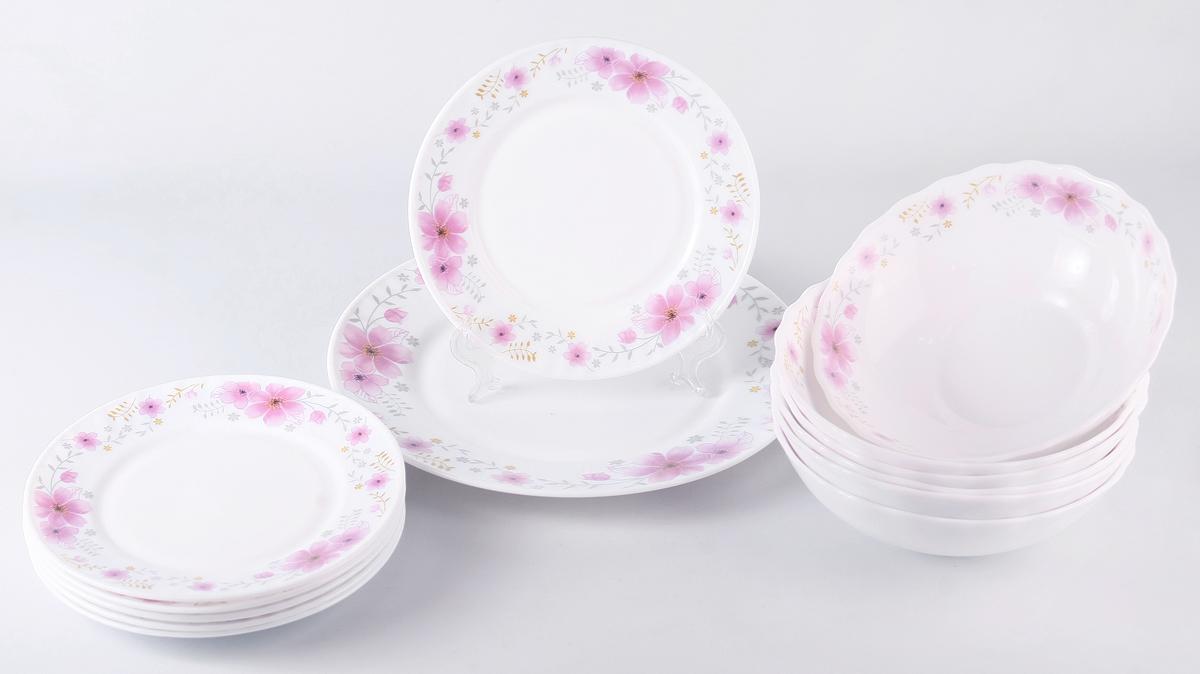 """Набор столовой посуды Olaff  """"Алькор"""" состоит из 13 предметов.  В набор входят:  - 6 мелких тарелок 175 мм,  - 6 салатников 750 мл,  - 1 мелкая тарелка 254 мм.  Набор продается в красивой подарочной упаковке.  Посуда изготовлена из качественной стеклокерамики."""