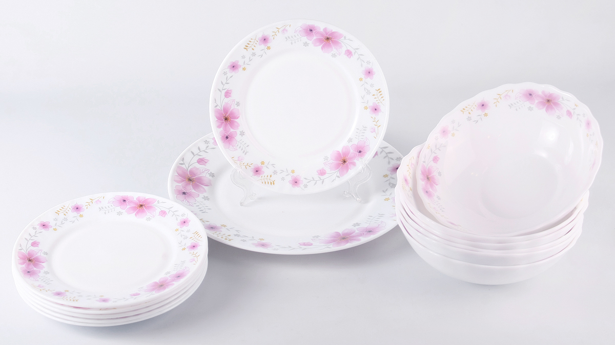Набор столовой посуды Olaff Алькор, 13 предметов. JY-R-13-51JY-R-13-51Алькор, набор столовый (13) 6 мелк.тарелок 175мм + 6 салатников 750мл + 1 мелк.тарелка 254мм, подарочная упаковка