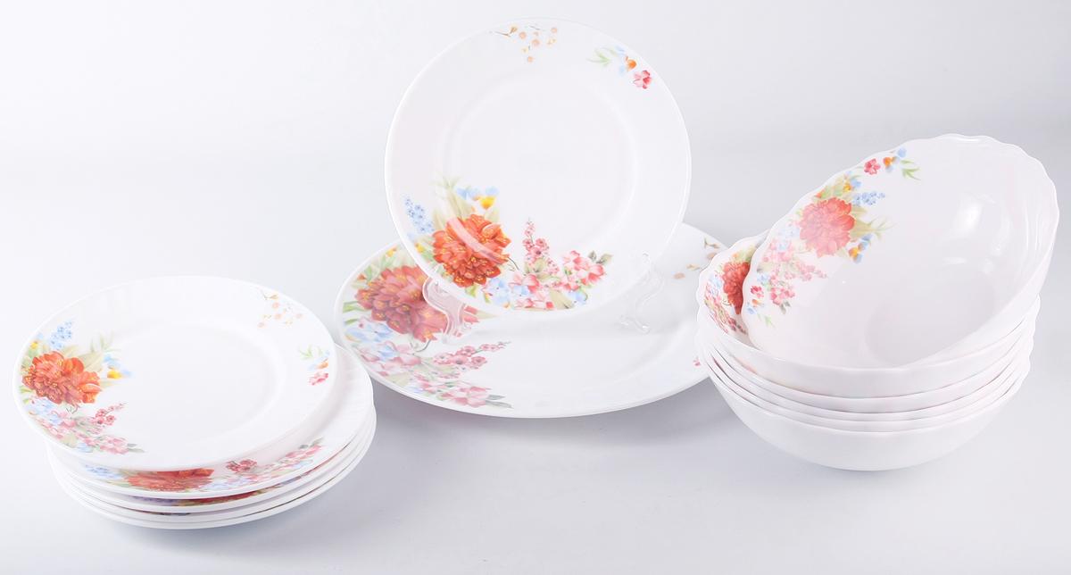 """Набор столовой посуды Olaff  """"Наранга"""" состоит из 13 предметов.  В набор входят:  - 6 мелких тарелок 175 мм,  - 6 салатников 750 мл,  - 1 мелкая тарелка 254 мм.  Набор продается в красивой подарочной упаковке.  Посуда изготовлена из качественной стеклокерамики."""