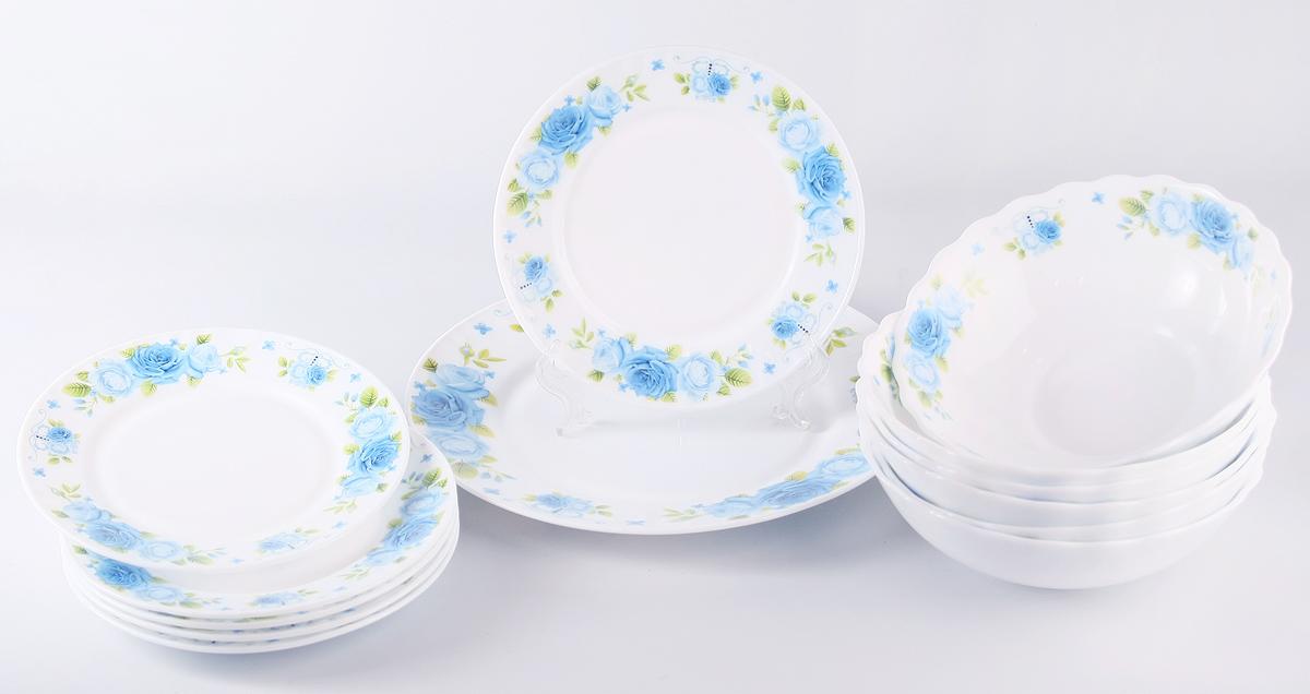 """Набор столовой посуды Olaff  """"Пасадена"""" состоит из 13 предметов.  В набор входят:  - 6 мелких тарелок 175 мм,  - 6 салатников 750 мл,  - 1 мелкая тарелка 254 мм..  Набор продается в красивой подарочной упаковке.  Посуда изготовлена из качественной стеклокерамики."""