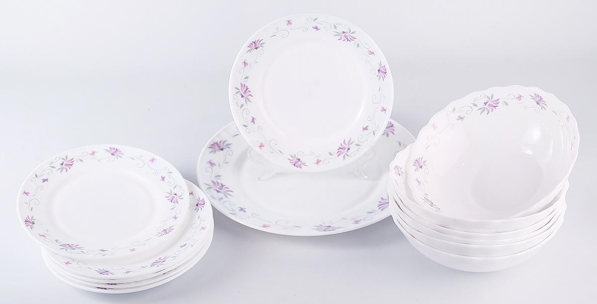 Набор столовой посуды Olaff Эстелла, 13 предметов. JY-R-13-55JY-R-13-55Эстелла, набор столовый (13) 6 мелк.тарелок 175мм + 6 салатников 750мл + 1 мелк.тарелка 254мм, подарочная упаковка