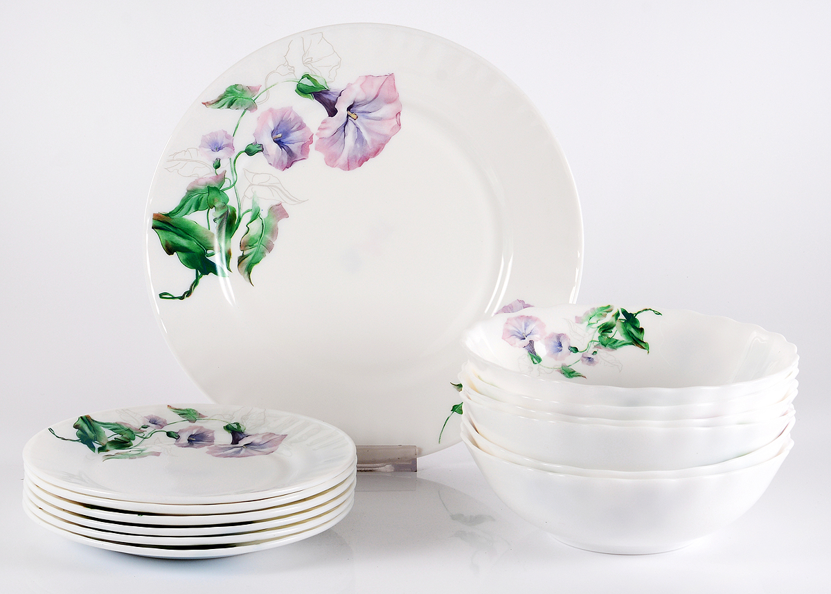 Набор столовой посуды Olaff Скарлет, 13 предметов. JY-R-13-57JY-R-13-57Скарлет, набор столовый (13) 6 мелк.тарелок 175мм + 6 салатников 750мл + 1 мелк.тарелка 254мм, подарочная упаковка