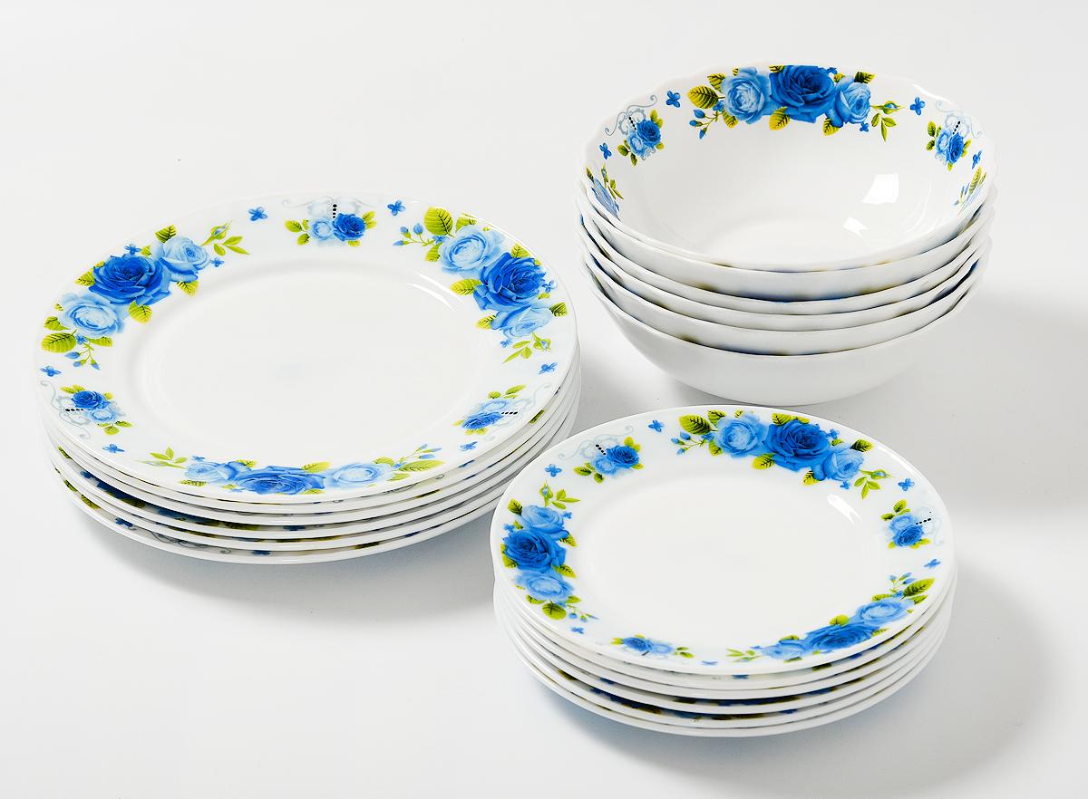Набор столовой посуды Olaff Пасадена, 18 предметов. JY-R-18-53JY-R-18-53Пасадена, набор (18) 6 мелк.тарелок 175мм + 6 мелк.тарелок 230мм + 6 салатников 750мл, подарочная упаковка