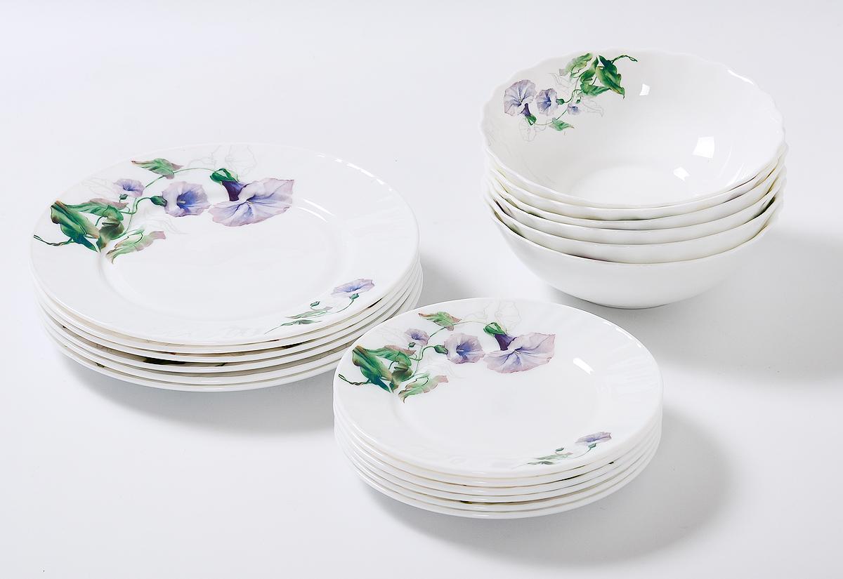Набор столовой посуды Olaff Скарлет, 18 предметов. JY-R-18-57JY-R-18-57Скарлет, набор (18) 6 мелк.тарелок 175мм + 6 мелк.тарелок 230мм + 6 салатников 750мл, подарочная упаковка