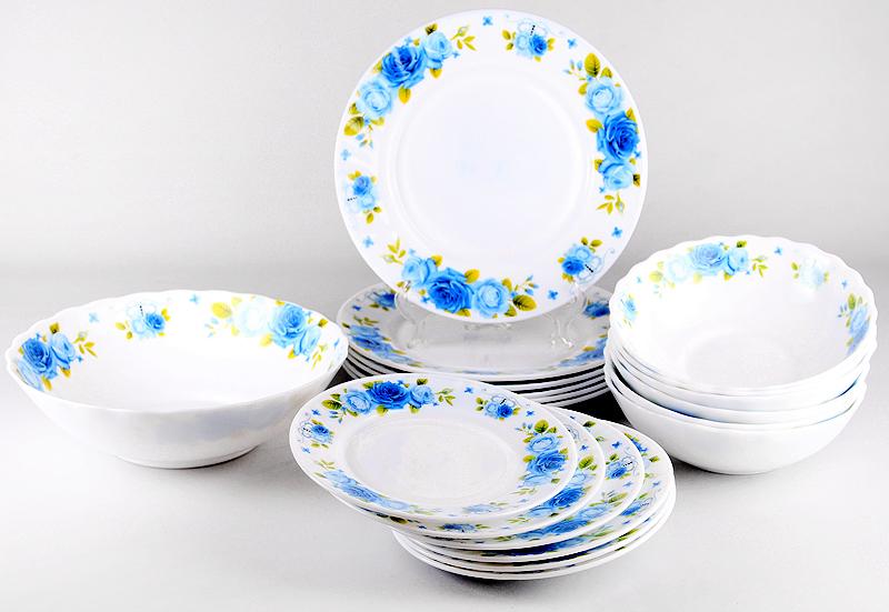 Набор столовой посуды Olaff Пасадена, 19 предметовJY-R-19-53Набор столовой посуды OlaffПасадена состоит из 19 предметов.В набор входят:- 6 мелких тарелок 175 мм,- 6 мелких тарелок 230 мм,- 6 салатников 750 мл,- 1 салатник 1400 мл.Набор продается в красивой подарочной упаковке.Посуда изготовлена из качественной стеклокерамики.