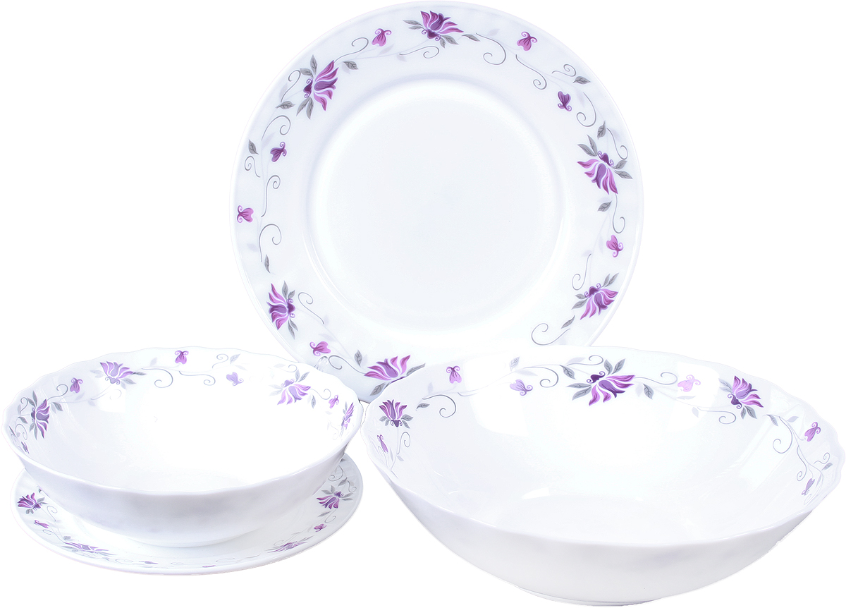 Набор столовой посуды Olaff Эстелла, 19 предметовJY-R-19-55Набор столовой посуды OlaffЭстелла состоит из 19 предметов.В набор входят:- 6 мелких тарелок 175 мм,- 6 мелких тарелок 230 мм,- 6 салатников 750 мл,- 1 салатник 1400 мл.Набор продается в красивой подарочной упаковке.Посуда изготовлена из качественной стеклокерамики.