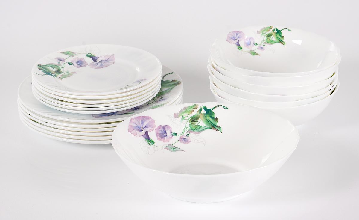 Набор столовой посуды Olaff Скарлет, 19 предметов. JY-R-19-57JY-R-19-57Скарлет, набор (19) 6 мелк.тарелок 175мм + 6 мелк.тарелок 230мм + 6 салатников 750мл + салатник 1400мл, подарочная упаковка