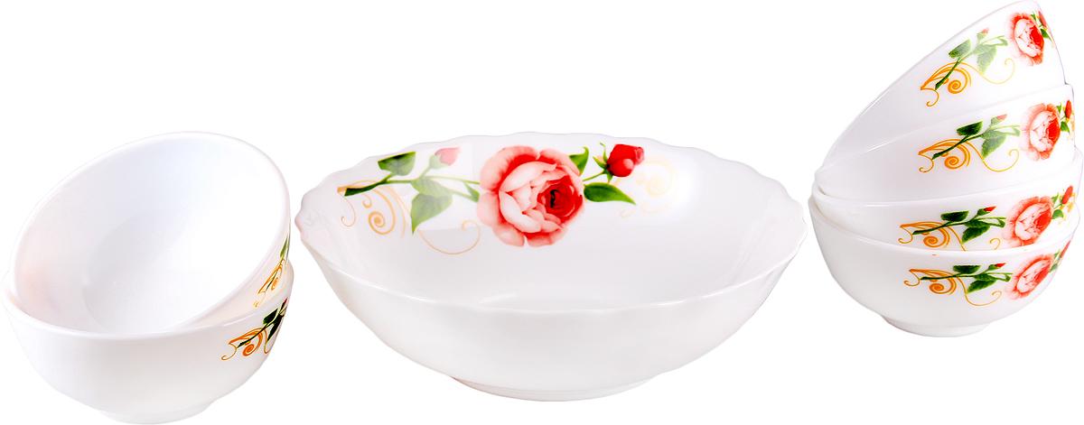 Набор столовой посуды Olaff Конфетти, 7 предметов. JY-R-7B-54JY-R-7B-54Конфетти, набор (7) 6 салатников 250мл + 1 салатник 1100мл, подарочная упаковка