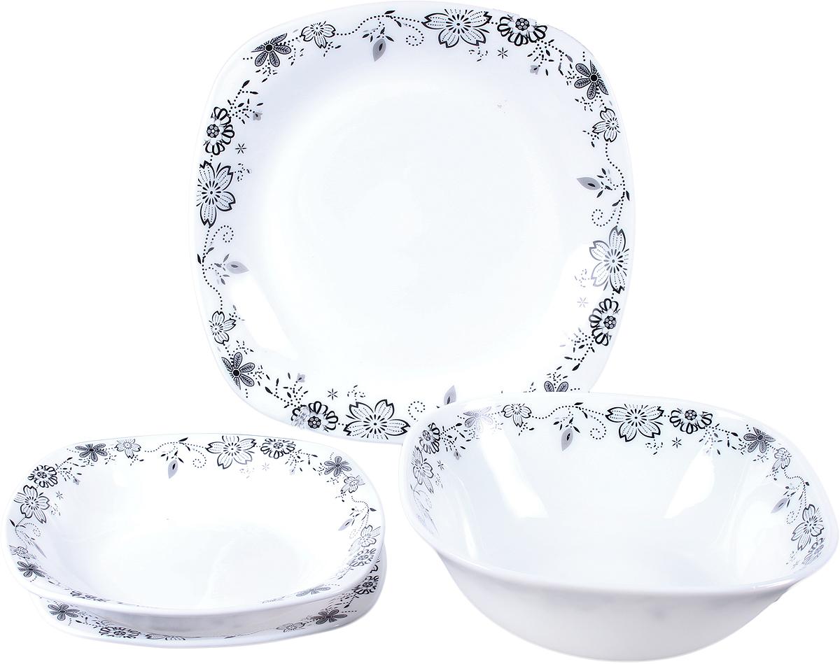 Набор столовой посуды Olaff Черные Цветы, 19 предметов. JY-S-19-08JY-S-19-08Набор столовой посуды с оригинальным дизайном обязательно понравится вам и вашим гостям. Набор состоит из 19 предметов: 6 мелких тарелок 190 мм. 6 глубоких тарелок 200 мм. 6 мелких.тарелок 240 мм. Салатник 1200 мл. Форма - квадрат. Упаковка - цветной бокс.