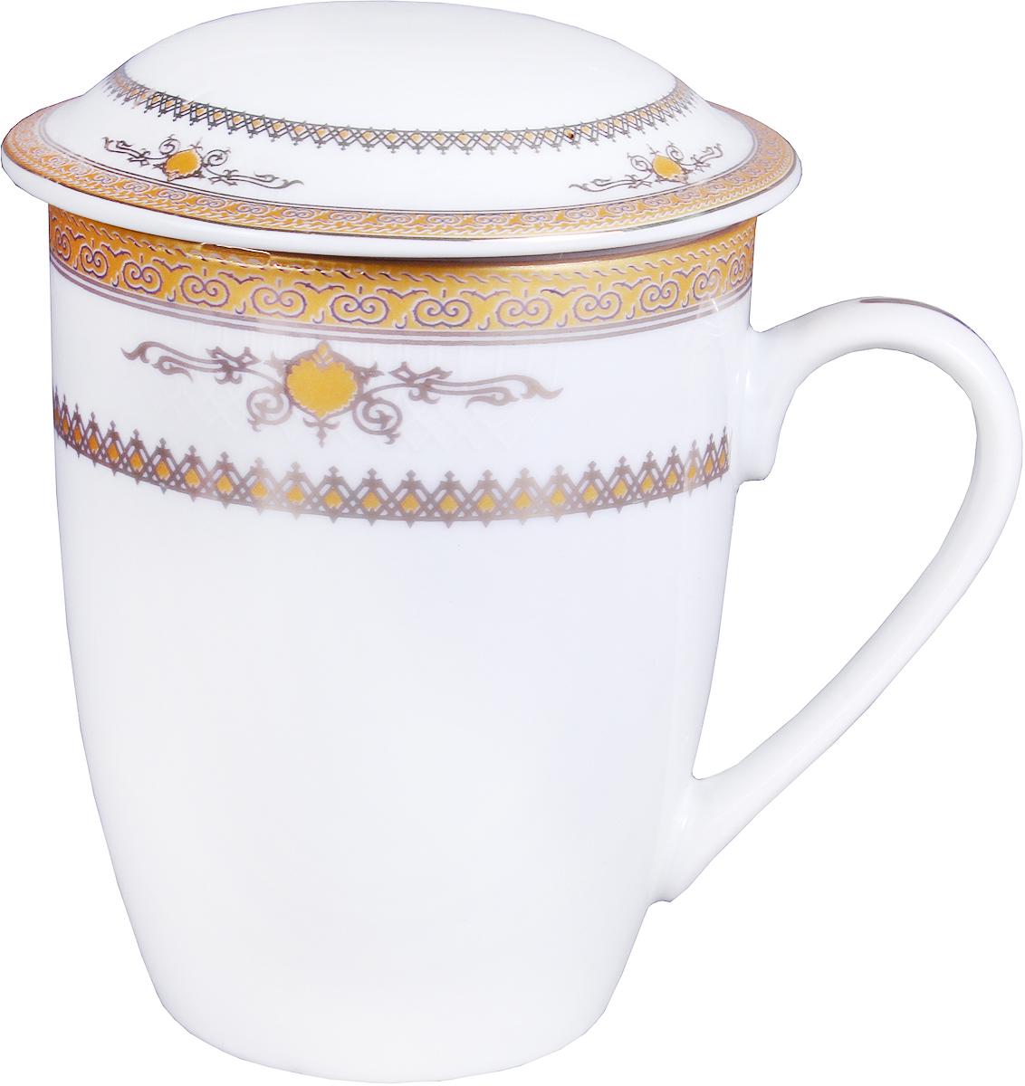 Кружка заварочная Olaff Mug Cover, с ситечком, 350 мл. LRG-MSCM-001LRG-MSCM-001Mug Cover, кружка заварочная 350мл с ситом, декор - золото-серебро, подарочная упаковка