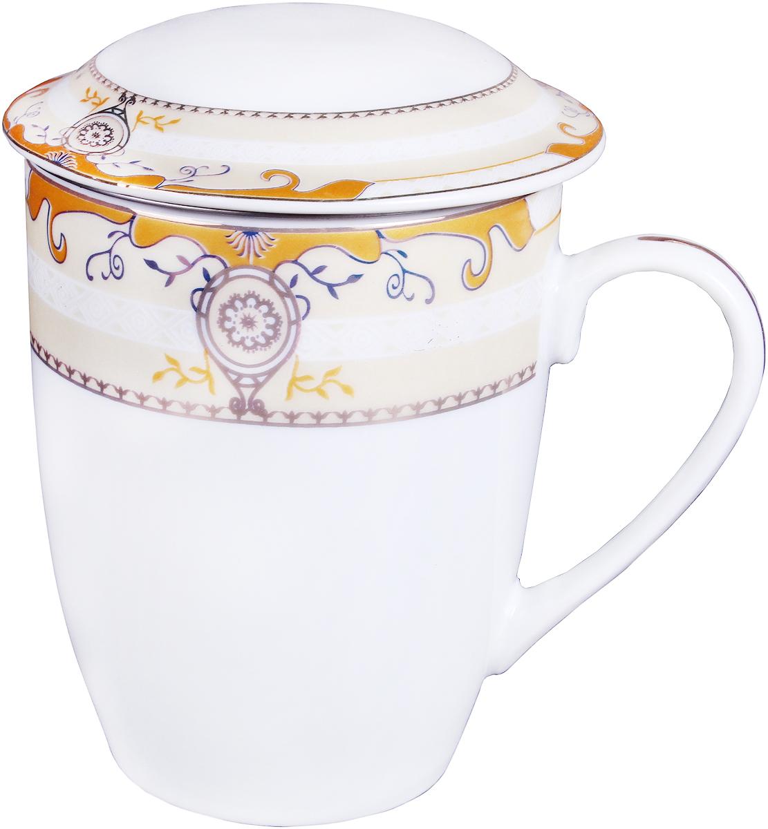 Кружка заварочная Olaff Mug Cover, с ситечком, 350 мл. LRG-MSCM-005LRG-MSCM-005Заварочная кружка Olaff Mug Cover изготовлена из фарфора. Изделие оснащено крышкой и металлическим ситечком. Благодаряситечку вы сможете заваривать чай непосредственно в кружке. Крышка дольше сохранит ваш напиток горячим.Кружка сочетает в себе оригинальный дизайн и функциональность. Благодаря такой кружке пить напитки будет еще вкуснее. Кружка Olaff Mug Cover согреет вас долгими холодными вечерами. Объем кружки: 350 мл.