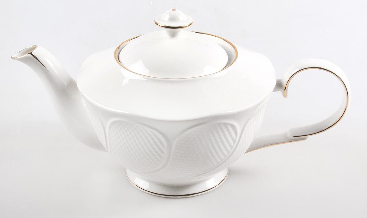 Чайник заварочный Olaff Ромашка, 1 л. RL14907N-1-GRL14907N-1-GРомашка, чайник 1000мл, NEW BONE CHINA, декор - белоснежный с золотом, резной, подарочная упаковка
