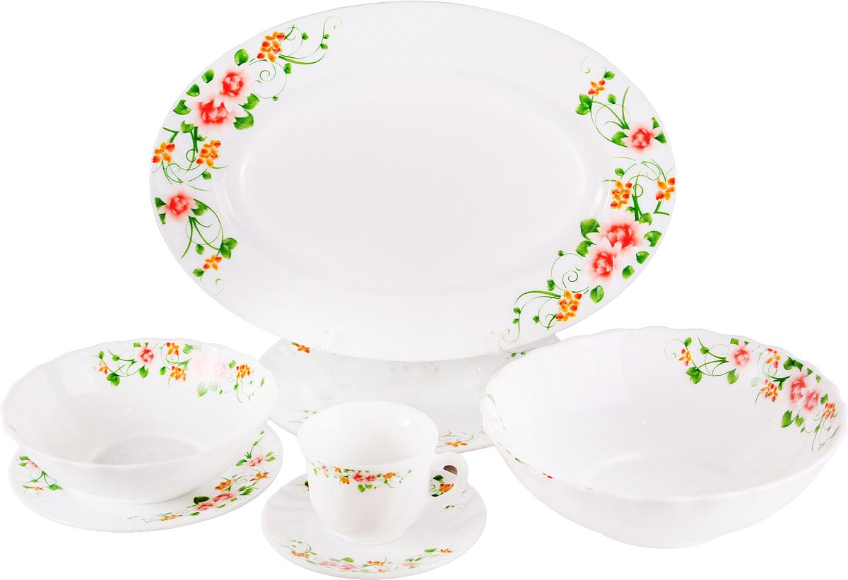 Набор столовой посуды Olaff Полевые Цветы, 32 предмета. SJ-32-0128SJ-32-0128Полевые Цветы, набор (32) 6 мелк.тарелок 180мм + 6 мелк.тарелок 220мм + 6 салатников 600мл + 1 салатник 1200мл + 1 овал.блюдо 356мм + 6 чашек 190мл + 6 блюдец - упаковка - цвет.бокс