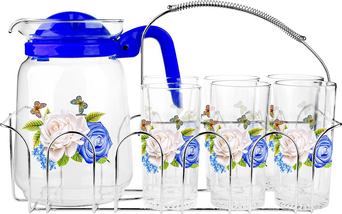 Набор для воды  6 стаканов 250мл., кувшин 1500 мл, металлический стенд, подарочная упаковка.