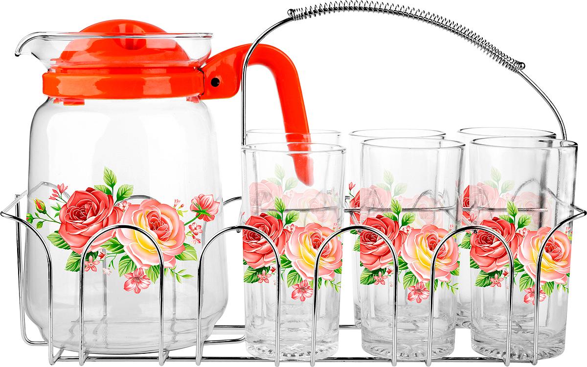 Набор для воды 6 стаканов 250мл.,  кувшин 1500мл, металлический стенд, подарочная упаковка.