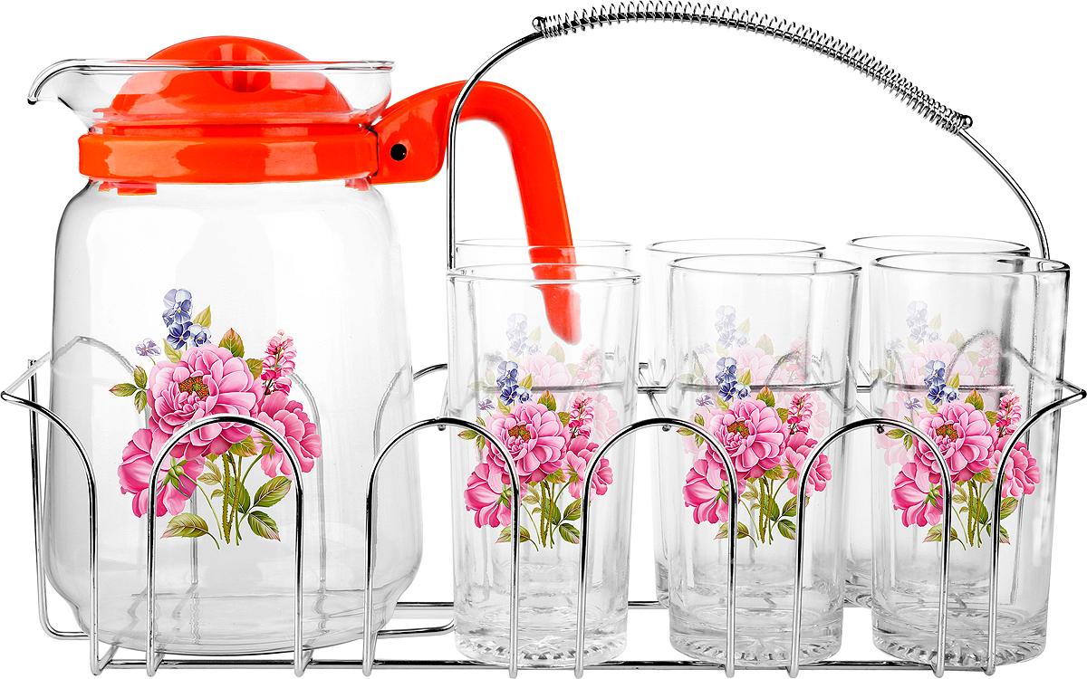 Набор для воды Olaff 7 предметовSLD-7DS915-R-002Набор для воды 6 стаканов 250мл., кувшин 1500мл, металлический стенд, подарочная упаковка.