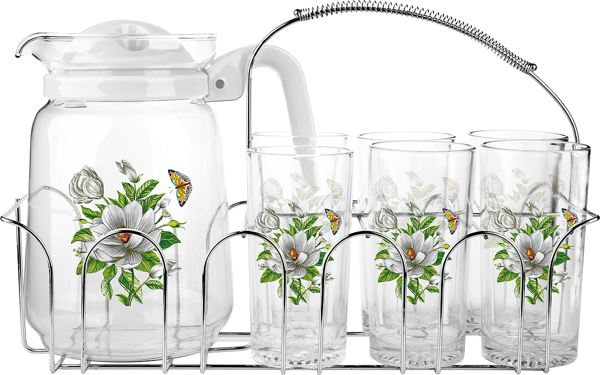 Набор для воды Olaff 7 предметовSLD-7DS915-W-004Набор для воды 6 стаканов 250мл., кувшин 1500мл, металлический стенд, подарочная упаковка.