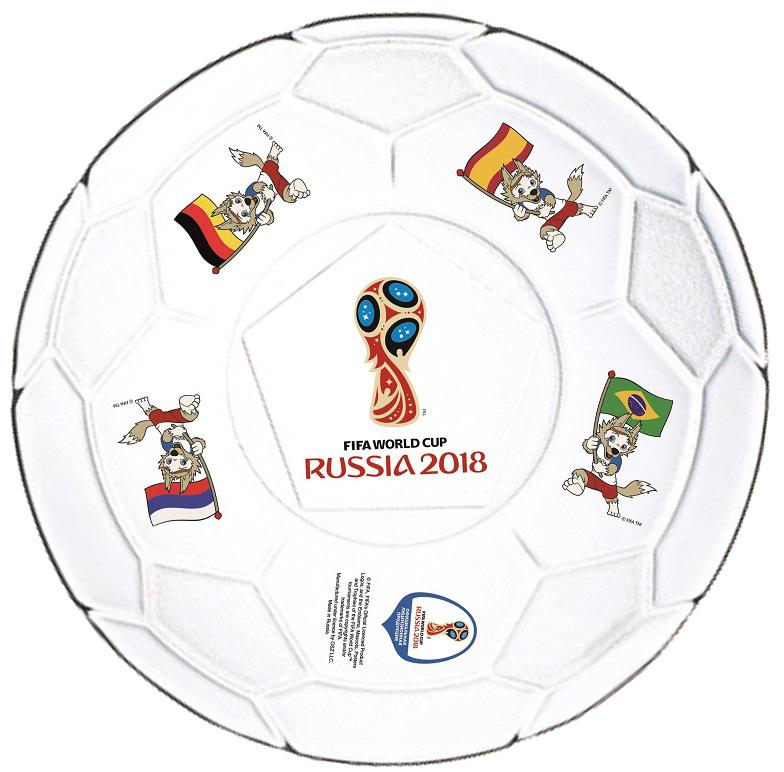 Тарелка с изображением эмблемы чемпионата мира по футболу 2018. Станет отличным подарком близким, друзьям или просто коллегам по работе.