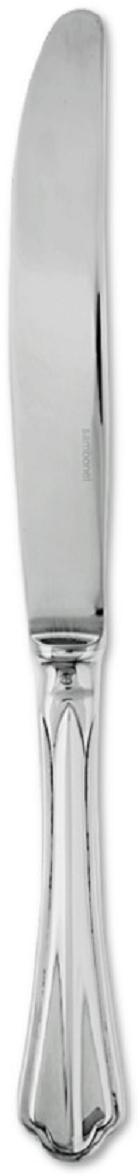"""Столовый нож """"Sambonet"""" выполнен из нержавеющей стали. Зеркальная полировка придает  прибору строгость и изысканность.Такой столовый нож прекрасно украсит ваш  праздничный стол и порадуют своим простым, но элегантным дизайном.   Итальянская компания """"Sambonet"""" с 1856 года занимается производством посуды, столовых  приборов и сервировки стола для европейских королевских представительств.   Бренд """"Sambonet"""" успешно продвигает свою продукцию на международном рынке,  произведенным в традиционном классическом стиле, в духе современности, а также с """"нотками""""  востока.   Продукция бренда производится только из н стали высочайшего качества с последующим  покрытием серебром по оригинальной запатентованной технологии компании, что делает  продукцию невероятно гладкой и блестящей. Изделия марки """"Sambonet"""" имеют идеальную  обтекаемую форму, с минимальным количеством декора и дополнений, что делает ее практичной  и удобной в использовании."""