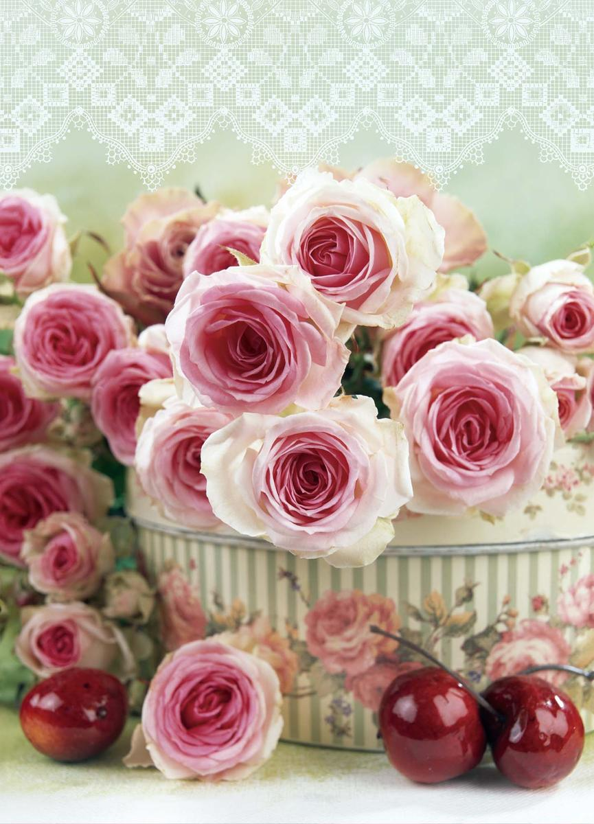 Пакет подарочный Eureka Розовые розы, 11 x 13,5  6 см