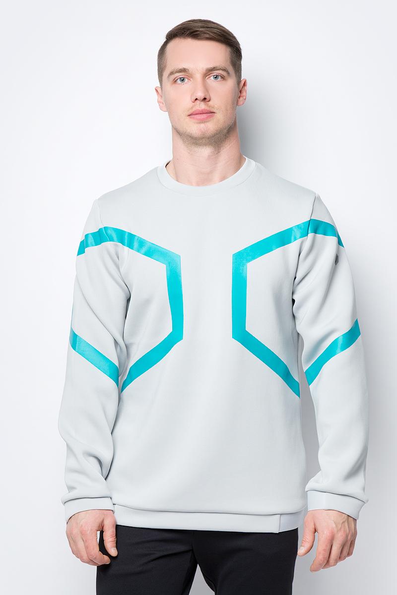 Толстовка мужская Asics Hexagon LS Crew Top, цвет: серый. 153349-0718. Размер XXL (52)